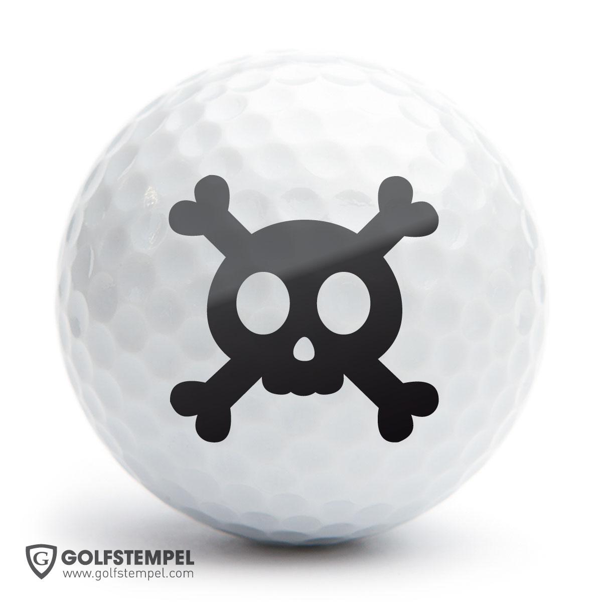 golfball stempel a25 motiv skull. Black Bedroom Furniture Sets. Home Design Ideas